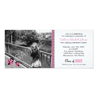 Invitación rosada linda de la fiesta de graduación invitación 10,1 x 23,5 cm