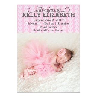 Invitación rosada moderna del bebé del modelo