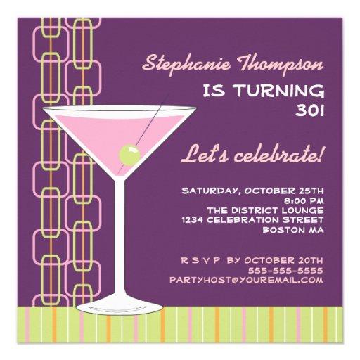 Invitación rosada retra de la fiesta de cumpleaños