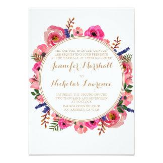 Invitación rosada simplista del boda del ramo