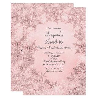 Invitación rosada suave de los copos de nieve del