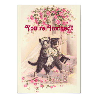 Invitación rosada suave de los gatos del boda del
