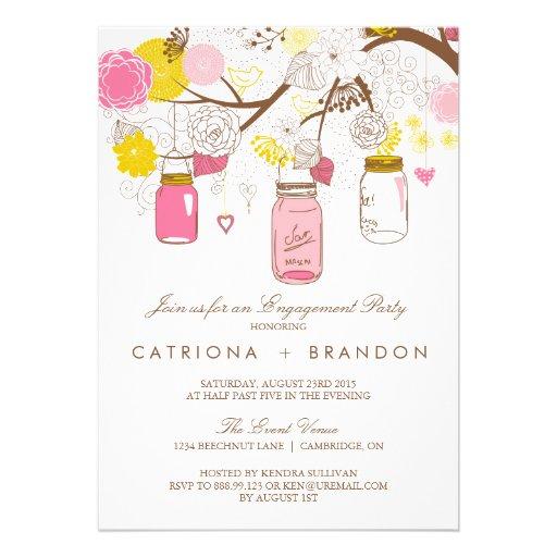 Invitación rosada y amarilla del compromiso de los