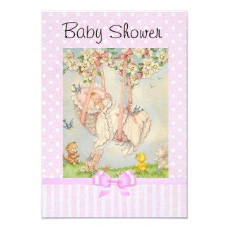 Invitación rosada y blanca del carro de bebé del