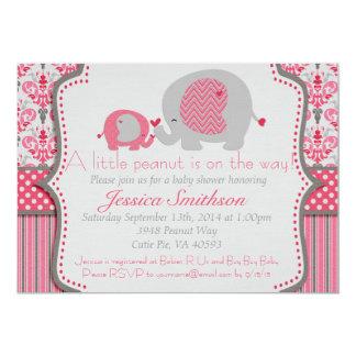 Invitación rosada y gris de la fiesta de