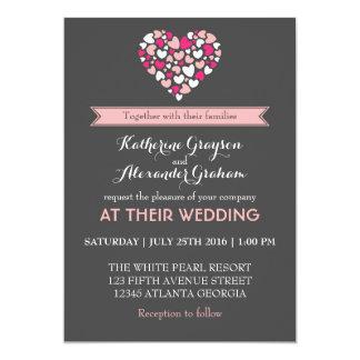 Invitación rosada y gris del boda del amor y del