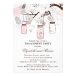 Invitación rosada y gris del fiesta de compromiso
