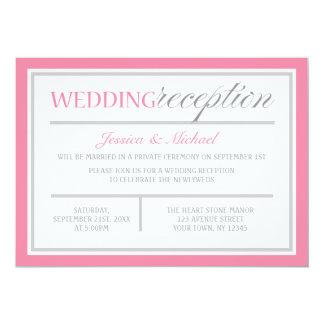 Invitación rosada y gris moderna de la recepción