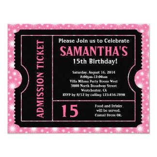 Invitación rosada y negra del boleto, cualquier