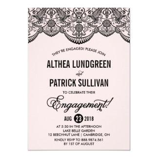 Invitación rosada y negra del compromiso del invitación 12,7 x 17,8 cm