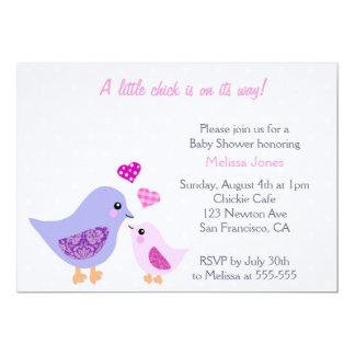 Invitación rosada y púrpura linda de la fiesta de