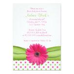 Invitación rosada y verde de la fiesta de
