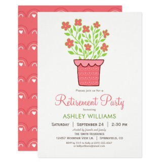 Invitación rosada y verde del fiesta de retiro