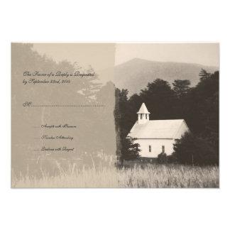 Invitación RSVP del boda del vintage de la iglesia