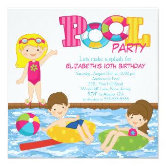 Invitación rubia de la fiesta en la piscina del invitación 13,3 cm x 13,3cm