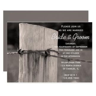 Invitación rural del boda del rancho del país del