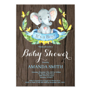 Invitación Rústica De Baby Shower Del Elefante Del