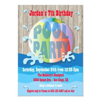 Invitación rústica de la fiesta en la piscina con