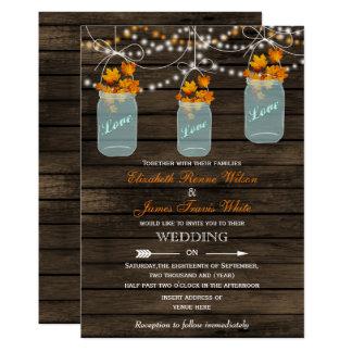 Tarjeta Invitación rústica de madera del boda de la caída