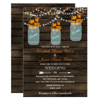 Invitación rústica de madera del boda de la caída invitación 12,7 x 17,8 cm