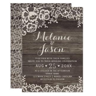 Invitación rústica de madera y del boda del cordón
