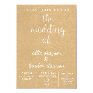 Invitación rústica del boda