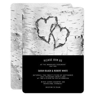 Invitación rústica del boda de la corteza de árbol