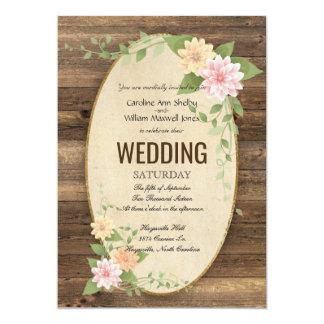Invitación rústica del boda de la flor de la