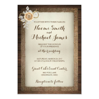 Invitación rústica del boda de madera, del cordón