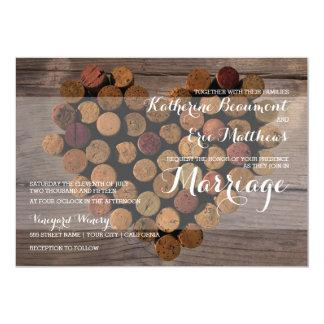 Invitación rústica del boda del corcho del vino invitación 12,7 x 17,8 cm