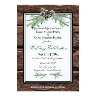 Invitación rústica del boda del invierno de la