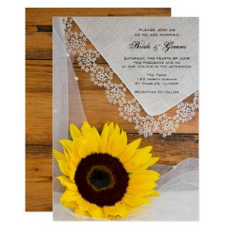 Invitación rústica del boda del país del cordón