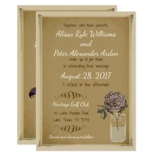 Invitación rústica del boda del tarro de albañil