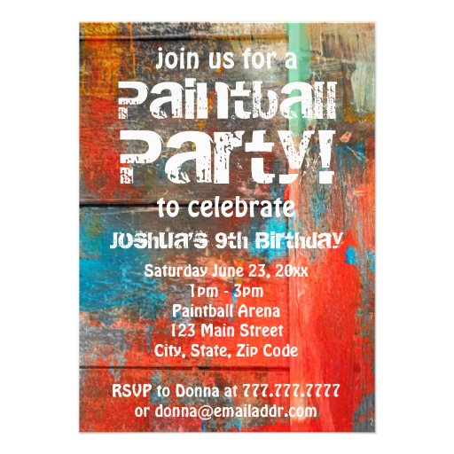 Invitación rústica del fiesta de Paintball del air
