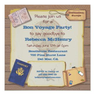 Invitación rústica del fiesta del buen viaje del