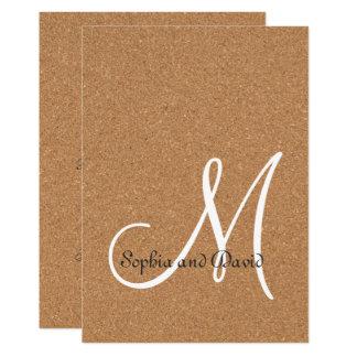 Invitación rústica del monograma del boda del
