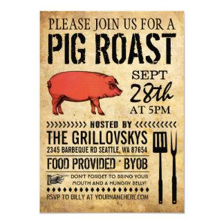 Invitación rústica II de la carne asada del cerdo