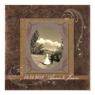 Invitación rústica occidental de la foto del boda