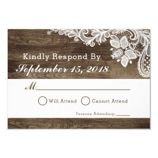 Invitación rústica RSVP de madera y del boda del