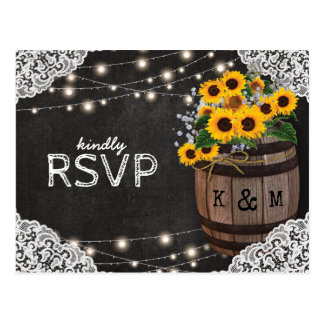 Invitación rústica RSVP del boda del lagar del Postal