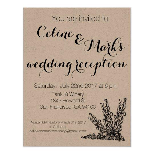 Invitación rústica simple elegante del boda
