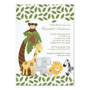 Invitación Safari De Selva Baby Shower Neutral Animal
