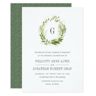 Invitación salvaje del boda del monograma del invitación 12,7 x 17,8 cm
