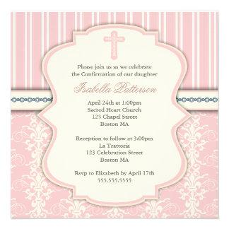 Invitación santa del damasco del rosa del vintage