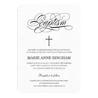 Invitación santa negra y blanca del bautismo