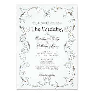 Invitación simple afiligranada del boda del oro
