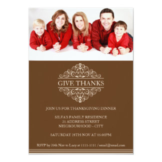 Tarjeta Invitación simple de la foto de familia de la cena