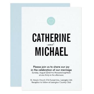 Invitación simple del boda de la tipografía del