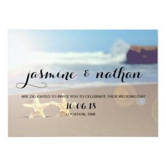 Invitación simple del boda de las estrellas de mar