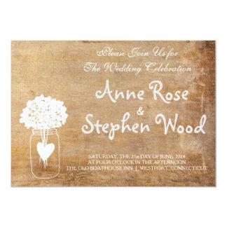 Invitación simple del boda del tarro de albañil de